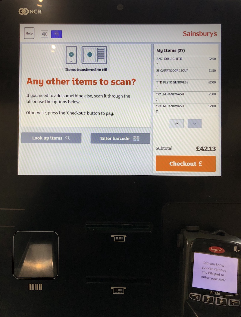 Sainsburys pay at till