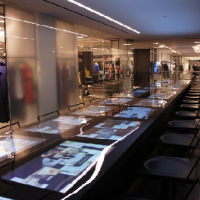 Digital table at Barney's in store cafe