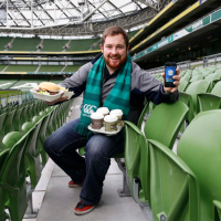 Irish rugby fans order and collect during a game using mobile