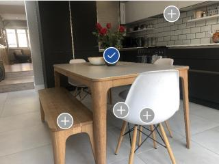 Picture of kitchen table marked up using visual AI