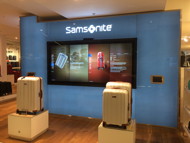 Samsonite's 2.5 metre 3D luggage viewer at Selfridges