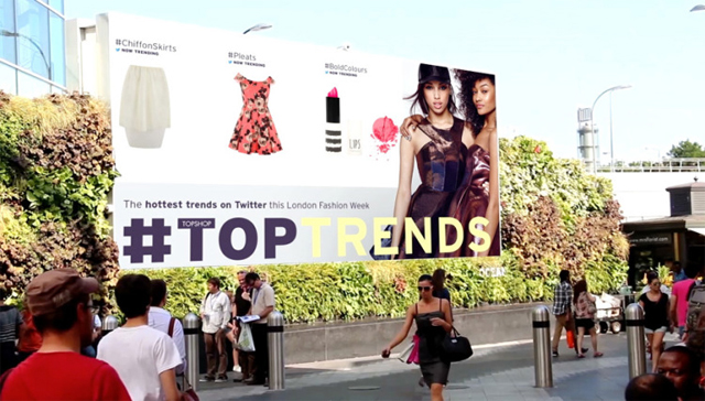 topshop twitter trends digital signage outdoor